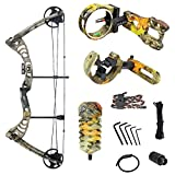 iGlow 30-55 lbs God's Country Late Season Camouflage Camo Archery Hunting Compound Bow with Premium Kit lb Crossbow