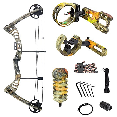 (iGlow 30-55 lbs God's Country Late Season Camouflage Camo Archery Hunting Compound Bow with Premium Kit lb Crossbow)