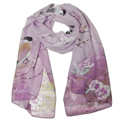 Wrapables Floral Bird Print Polyester and Silk Oblong Scarf, Wisteria