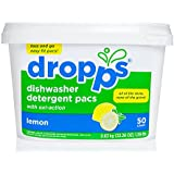 Dropps Oxi-Action Dishwasher Detergent Pacs, Lemon, 50 Counts