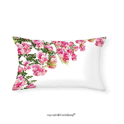 VROSELV Custom pillowcasesFloral Rose Flowers Branch with Blooming Petals Shabby Chic Summer Beauty Print for Bedroom Living Room Dorm Light Pink Fern Green(20''x30'') by VROSELV