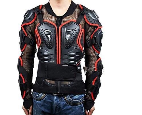 Skilled Motorcycle Full Body Riding Portection Armour Armor Jacket Guard Motorcross Racing Clothing ATV Shirt with Back Bulwark (XXX-Large, Black-Red)