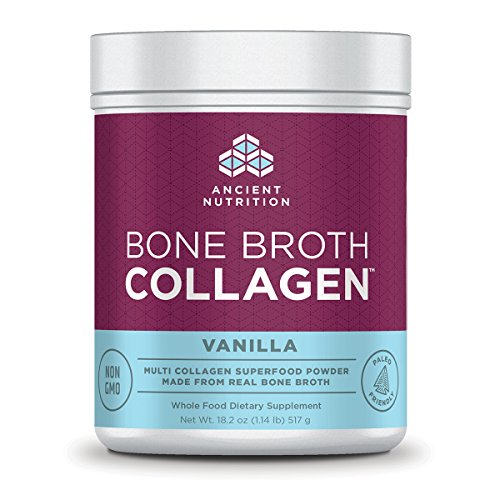 Ancient Nutrition Bone Broth Collagen Powder, 30 Servings of All-Natural Protein Powder Loaded with Bone Broth Co-Factors, 10g of Type I, II and III Collagen Per Serving (Vanilla)