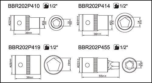 Bahco BBR202P410 VASO PENTAGONAL 1//2 10MM