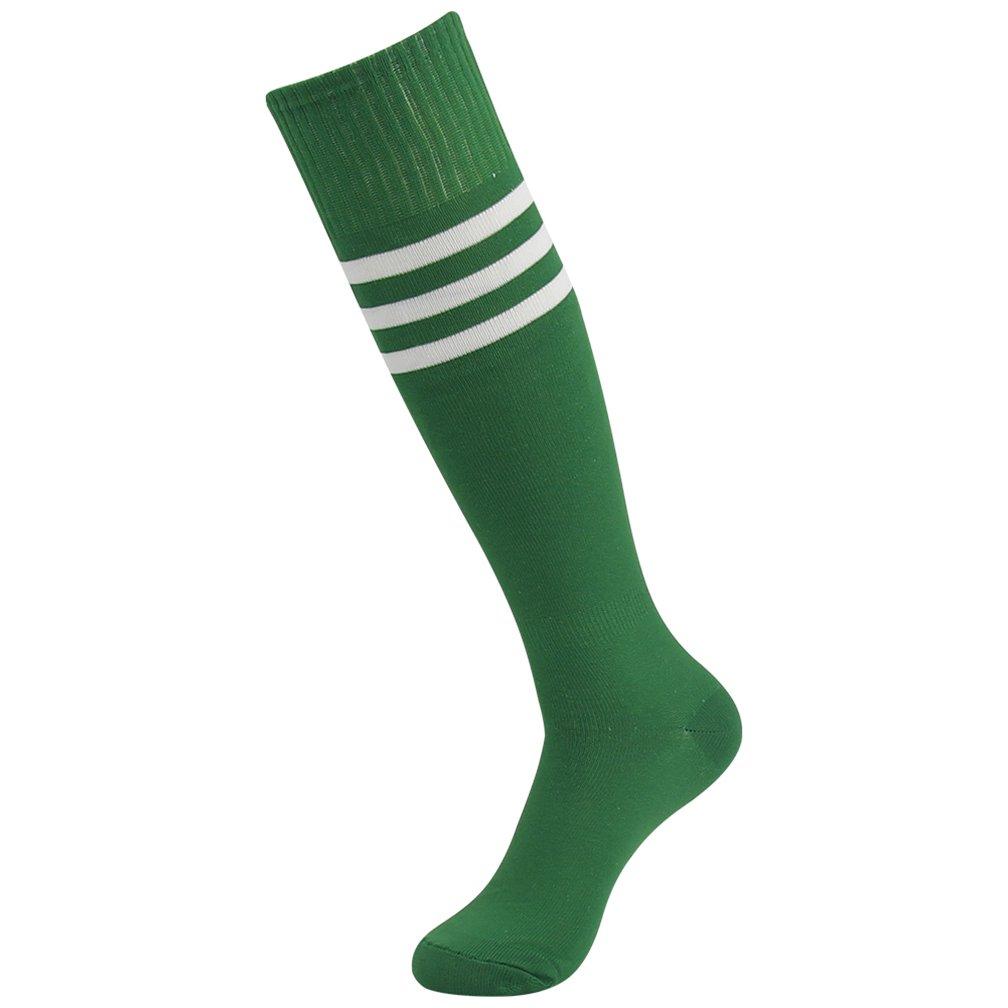 Fasoar Women Men Youth Girls Cool High Striped Stretch Football Sports Socks Pack of 2 Red Green