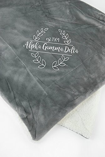 Alpha Gamma Delta Throw Blanket | Sorority Plush Minky Blanket (Sherpa House)