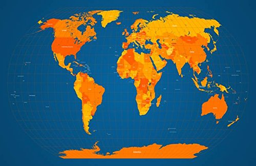 Wall Art Print entitled World Map In Orange And Blue by Michael Tompsett