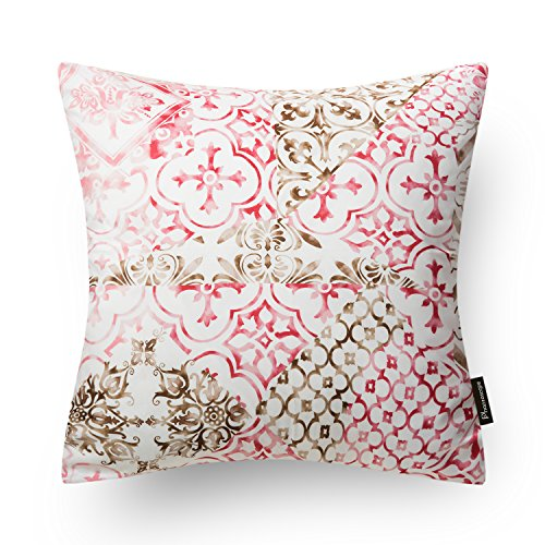 Phantoscope New Living Red&Brown Series Throw Pillow Case Cushion Cover - Set Retro Sofa