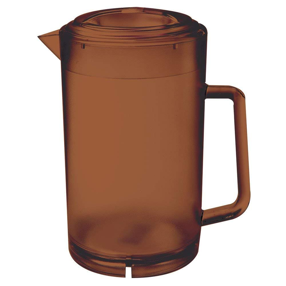 GET P-3064-1-A-EC BPA-Free Textured Scratch-Resistant Plastic Pitcher with Lid, 64 Ounce, Amber
