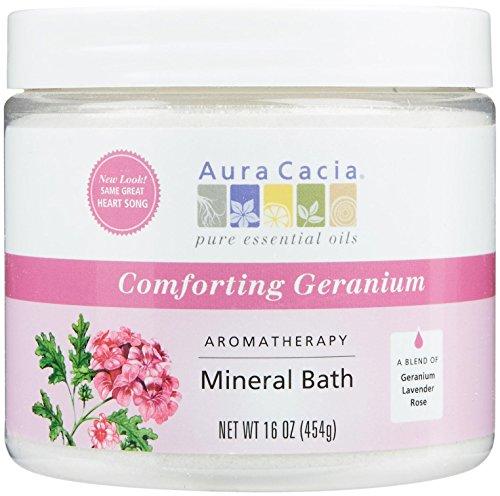 Pot de 16 onces de Cacia aromathérapie bain de minérale, géranium réconfortant, aura