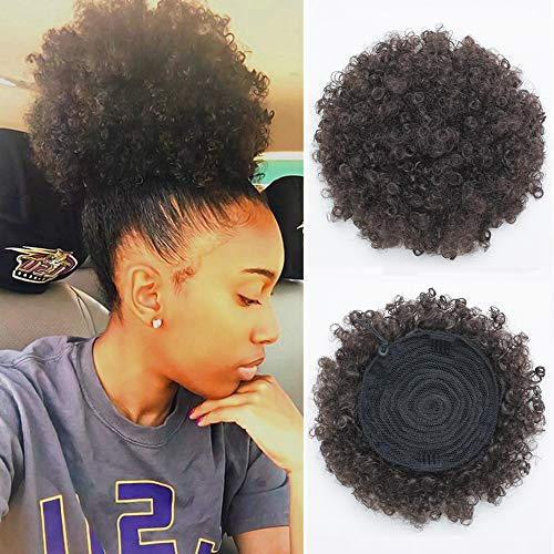 Synthetic Drawstring (Synthetic Afro Puff Drawstring Ponytail Short Kinky Curly Hair Bun Extension Donut Chignon Hairpieces Wig Updo Hair Extensions with Two Clips(black-2#))