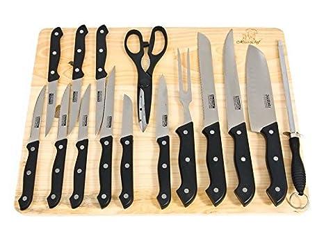 MasterChef 16pc cuchillos de cocina w/Junta cuchillos de ...