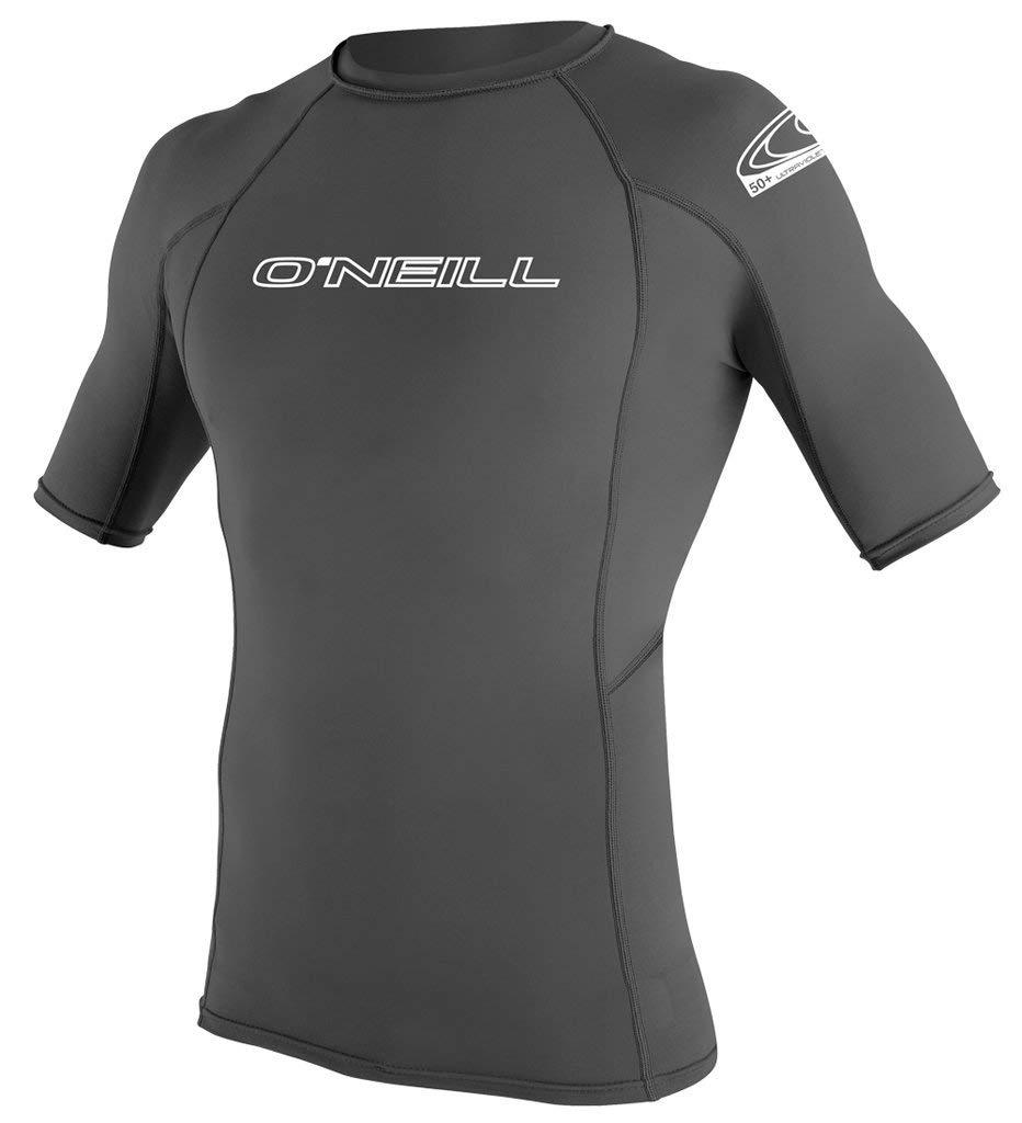 O'Neill Wetsuits Men's Basic Skins UPF 50+ Short Sleeve Rash Guard, Smoke, Small