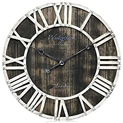 Westzytturm Wooden Clock Metal Hands Antique Face Round Wood Rustic Large Wall clocks for Living room Decor Battery Operated Non Ticking Silent Quartz Movement Office Beach Mantel(Black, 24 inch)