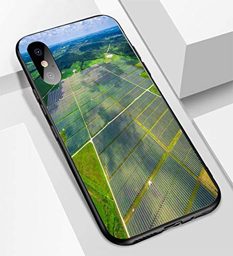 iPhone X/XS Ultra-Thin Glass Back Phone case,Aerial Central Texas Solar Energy Farm Thousands of Collectors Soft and Easy to Protect The Protective case