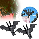 HenJiu Bat-Shaped Clip 2Pcs Weird Halloween Party Decoration Batman Home Service Hook Hanging Nail Plastic bat-Shaped Clothes Clip Clothespin Laundry Rack Cool