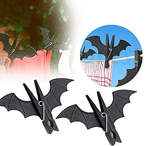 HenJiu Bat-Shaped Clip 2Pcs Weird Halloween Party Decoration Batman Home Service Hook Hanging Nail Plastic bat-Shaped Clothes Clip Clothespin Laundry Rack Cool -