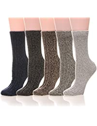 Womens 5 Pairs Soft Thick Comfort Casual Cotton Warm Wool...