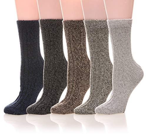 Boot Socks Winter (Womens 5 Pairs Soft Comfort Thick Casual Cotton Warm Wool Crew Winter Socks (5 Pack Solid color B))