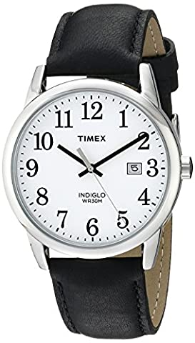 Timex Men's TW2P75600 Easy Reader Silver-Tone Black Leather Strap Watch (Leather Round Watch)