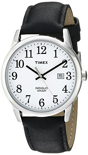 - Timex Men's TW2P75600 Easy Reader Black/Silver-Tone/White Leather Strap Watch