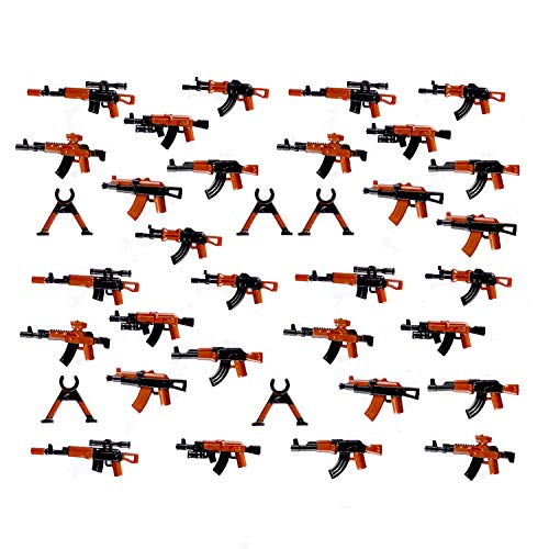 koolfigure 40+ Pieces of WW2 Guns Weapons Pack Designed for Army Minifigures, Painted Mini Rifle Guns, Snipers, Gun Rack for 2.5