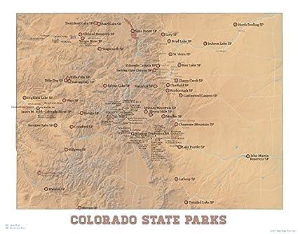 Amazon.com: Colorado State Parks Map 11x14 Print (Camel & White ...