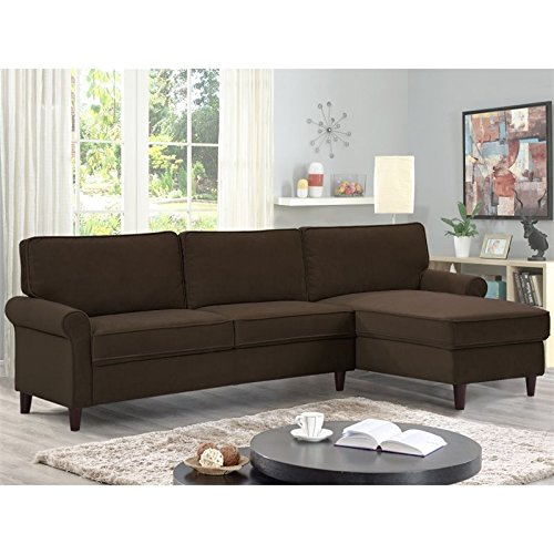 Lifestyle Solutions LK-MCLS2XM3045 Manchester Sectional, Chocolate