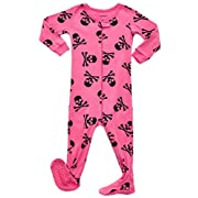 Leveret Kids Skull Pink Baby Girls Footed Pajamas Sleeper 100% Cotton (Size 6-12 Months)