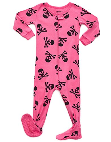 Leveret Kids Pajamas Baby Boys Girls Footed Pajamas Sleeper 100% Cotton (Size 6-12 Months-5 Toddler) (12-18 Months, Skull Pink)