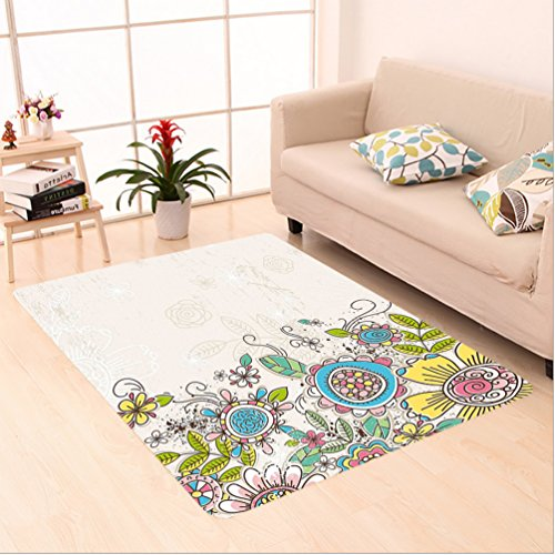 Hand Tufted Bay Leaf (Nalahome Custom carpet Flowers Floral Decor Illustraion of Hand Draw Flowers and Leaves Pattern Coconut Yellow and Pink area rugs for Living Dining Room Bedroom Hallway Office Carpet (5' X 7'))