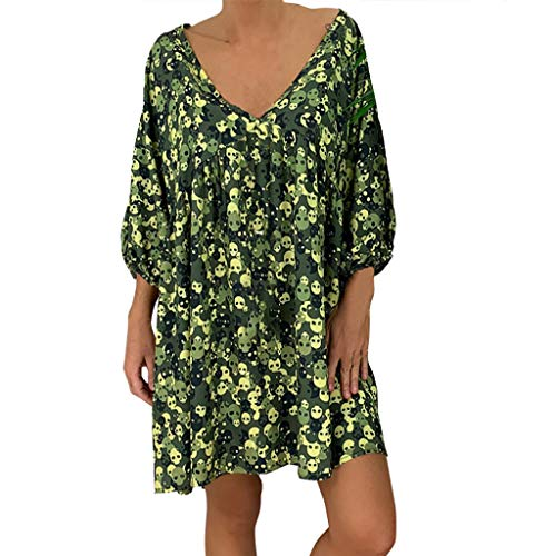 GREFER Plus Size Dresses for Women Work Casual Skull Printed Loose Fit Mini Dress 3/4 Sleeve Halloween Costumes Green