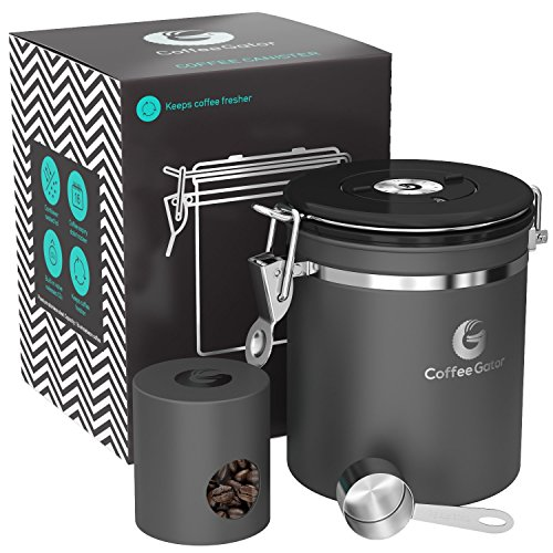Popular Large Mugs (Coffee Gator Stainless Steel Container - Canister with co2 Valve, Scoop, and Travel Jar - Medium, Gray)