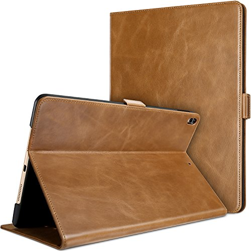 (ProCase iPad Air (3rd Gen) 10.5 2019 / iPad Pro 10.5 2017 Case, Vintage Genuine Leather Case Slim Fit Stand Folio Cover, with Multiple Viewing Angles, Auto Sleep/Wake Feature -Brown)