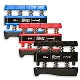 Prohands Gripmaster Hand Exerciser, Finger Exerciser (Hand Grip Strengthener), Spring-Loaded, Finger-Piston System, Isolate and Exercise Each Finger, (Set of 3) (Blue, Red, Black)