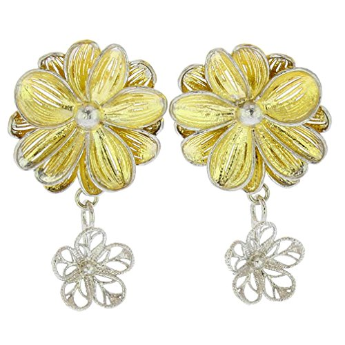 (GlassOfVenice Italian Daisy Flower Sterling Silver Gold-Plated)