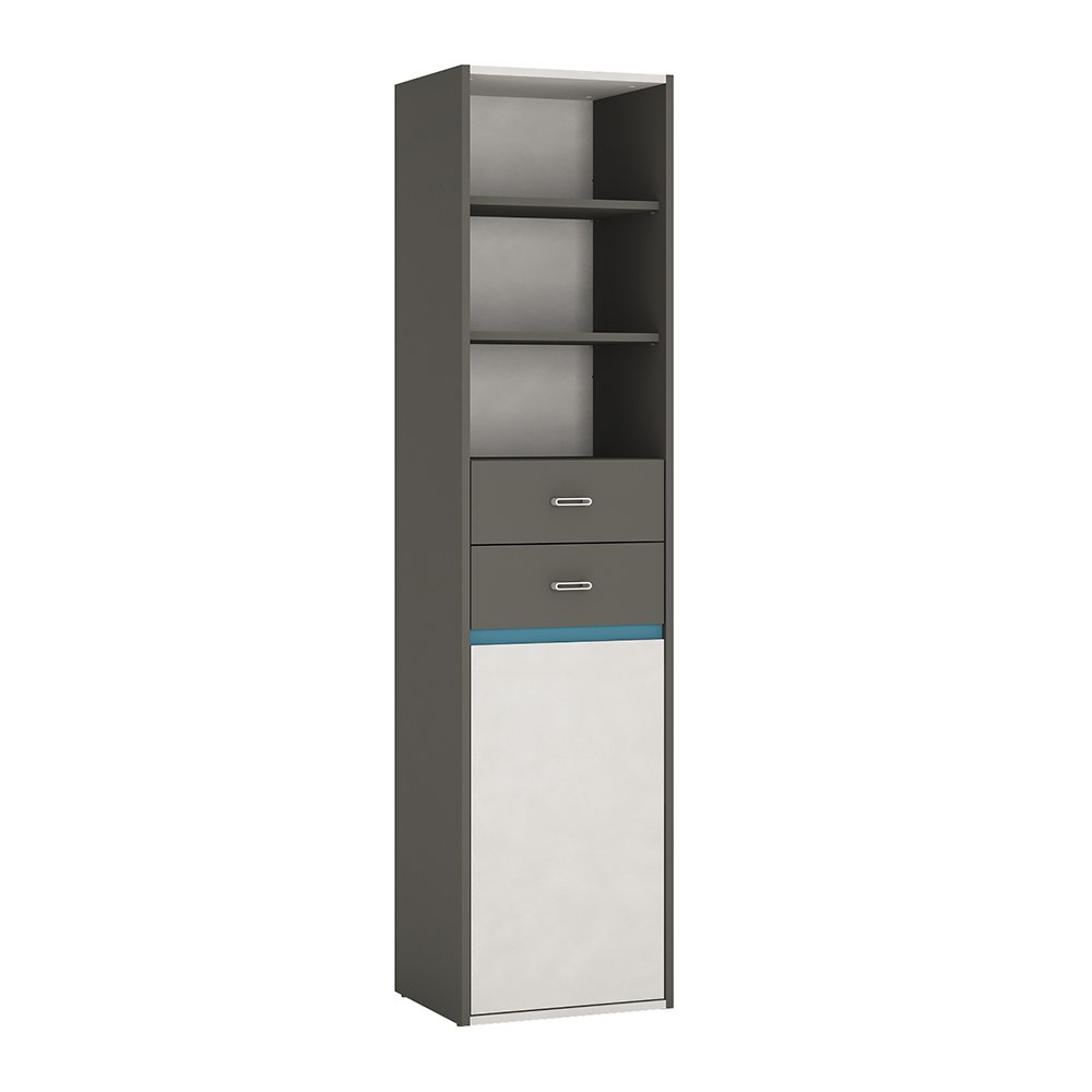 Furniture To Go Alien Tall Narrow 1 Door 2 Drawer Bookcase, Wood, Graphite/Light Grey, 43.2x40x180.9 cm Wojcik 4231652