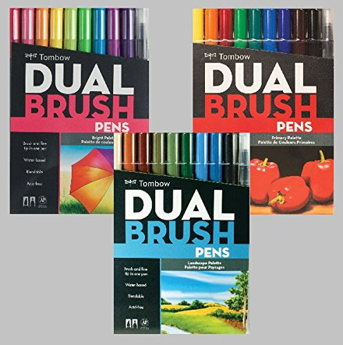 Tombow Dual Brush Pen Art Markers, Landscape with Tombow Dual Brush Pen Art Markers, Bright and Tombow Dual Brush Pen Art Markers, Primary by Tombow