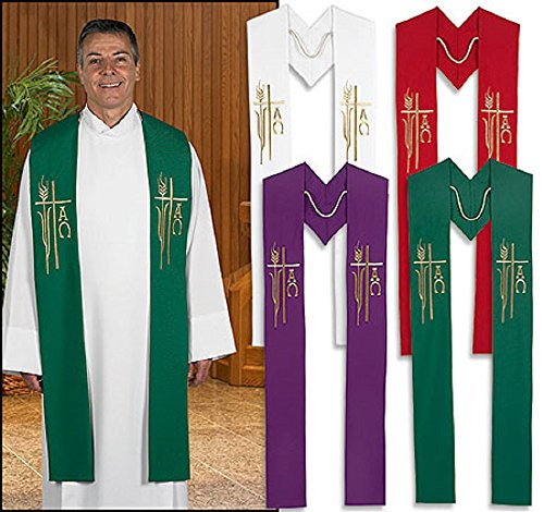 CLERGY Set of 4 Embroidered Alpha Omega Stoles by AT001