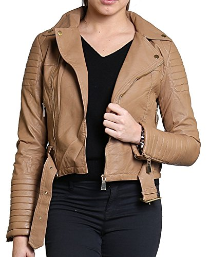 Veste Crop Cuir Camel Femmes Or Nouvelles Ladies Metal Zip ou Button Animal Biker Manteau Diana Faux SHz7axcq