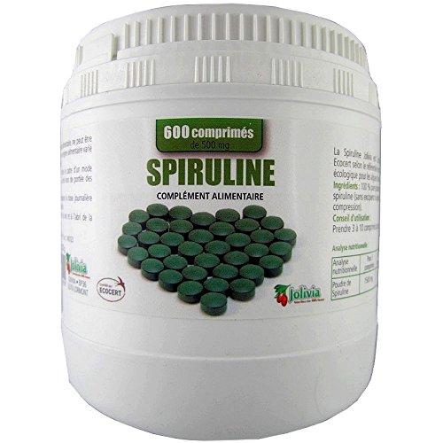 Spiruline Ecocert 600 comprims 500 mg