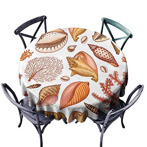 Stain Resistant Round Tablecloth seamless pattern shells seaweed and mollusca different forms sea creature engraved hand drawn in old sketch vintage style nautical or marine monster or food animals -