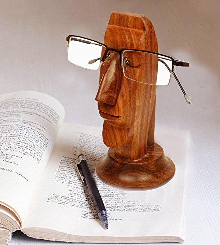 Easter Day Gift, Handmade Wooden Spectacle Holder, Eyewear Holder, Face Design Spec Holder, Perfect for Store Your Specs, Brown Color 6 - India Online Eyewear