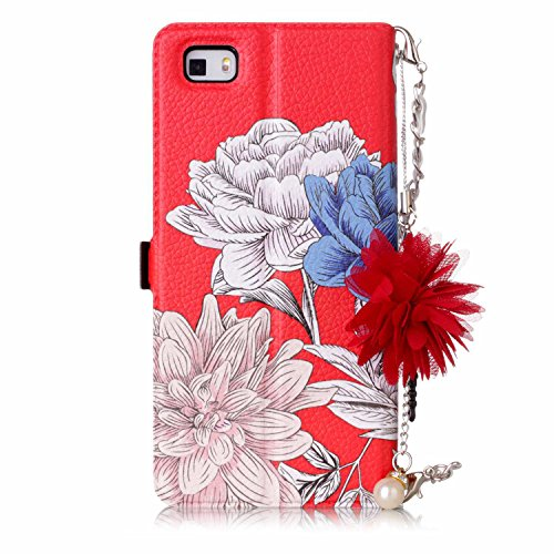 free shipping JuSha for Huawei P8 Lite Case PU Leather Wallet Magnetic Cover Skin (Red Chrysanthemum)