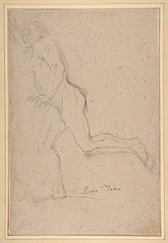 """Nude Youth Running (recto) Standing Draped Old Man with Left Hand Upraised (verso) Poster Print by Pietro Testa (Italian Lucca 1612 """"1650 Rome) (18 x 24)"""