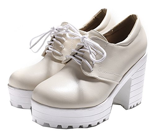 Odomolor Women's PU Solid Lace-up Round-Toe High-Heels Pumps-Shoes Beige 0WcHBcts3