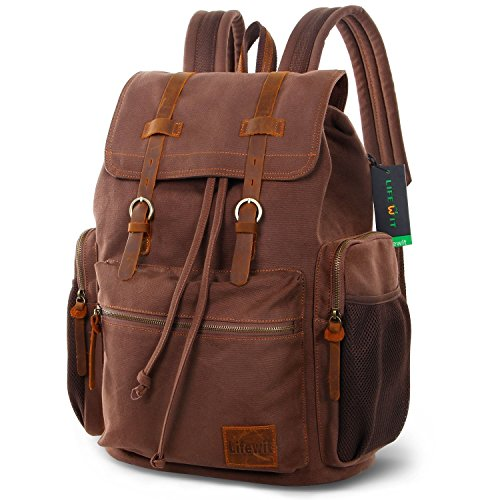 Best Buy! Lifewit 15.6-17 inch Canvas Laptop Backpack Unisex Vintage Leather Casual School College B...