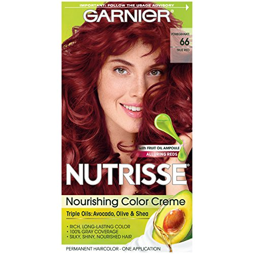 (Garnier Nutrisse Nourishing Hair Color Creme, 66 True Red (Pomegranate)  (Packaging May)