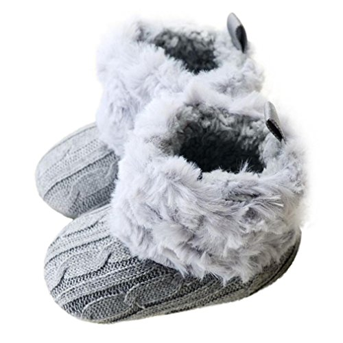 LNGRY Baby Boy Girl Snow Boots Soft Crib Shoes Toddler Prewalker Shoes (0-6 Months, Gray)