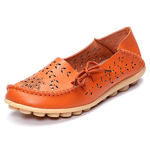 Winnerbe Large Size Floral Hollow Out Comfy Shoes Casual Lace Up Flats Orange US Size 8